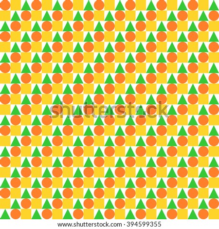 Circles, squares and triangles evenly offset placed in rows in yellow, orange and green in square format