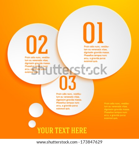 Circles with drop shadows on yellow background. Vector illustration EPS 10 for infographic website or flyer / presentation template / brochure page layout / cover book or magazine - stock vector