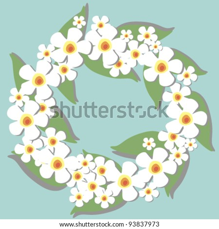 Circlet of flowers background - stock vector