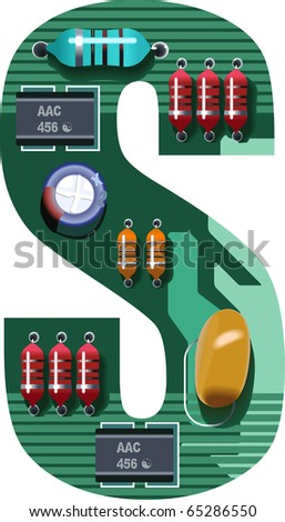 circuit alphabet s - stock vector