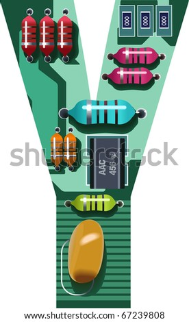 circuit alphabet y - stock vector
