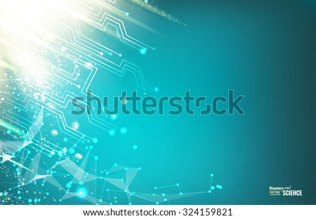 Circuit blue lights background. Abstraction for science presentations. Wire frame mesh polygonal element. Abstract futuristic background. Vector illustration. - stock vector