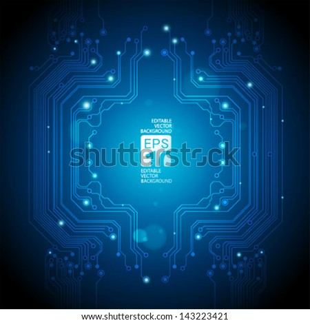 circuit board abstract blue background - vector - stock vector