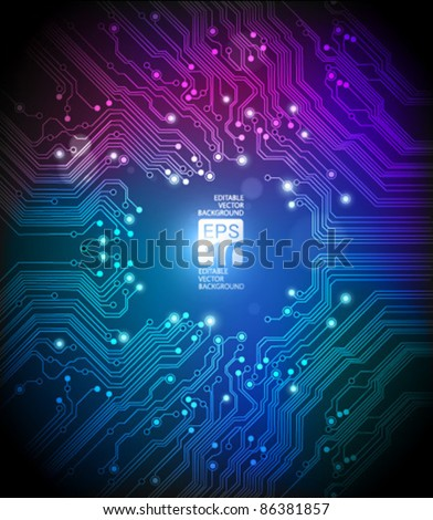 circuit board abstract colorful background - Vector - stock vector