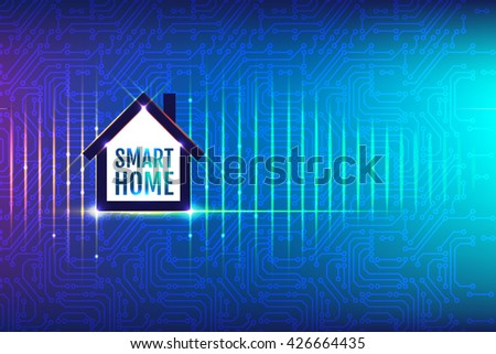 Circuit board background with smart home sign. Technological concept of internet of things or smart home. Vector Illustration.