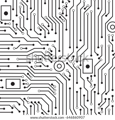 Circuit Board Black White Vector Background Stock Vector 646860907 ...