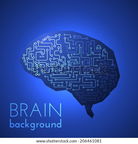 Circuit board brain background. Vector eps10 - stock vector