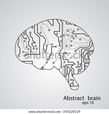 Circuit board brain eps 10, vector illustration