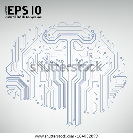 Circuit board computer style brain vector technology background - stock vector
