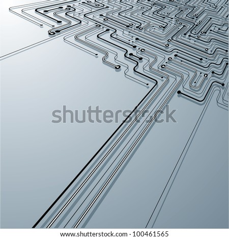 Circuit board concept  made of links lines in a perspective view