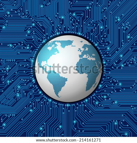 circuit board frame with globe - stock vector