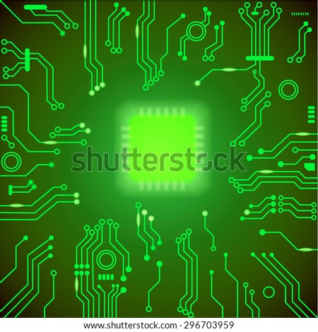 Circuit board green vector background.  motherboard Processor and chip, cpu computer design,  vector illustration - stock vector