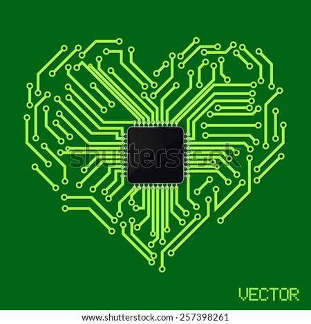 Circuit board heart. Electronic  background with Processor - vector drawing - stock vector