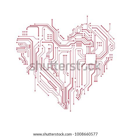 Circuit Board Heart Symbol Valentines Day Stock Photo Photo Vector