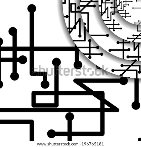 Circuit board illustration, digital composition.