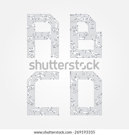 Circuit board in the form of A, B, C, D letters. Vector alphabet - stock vector