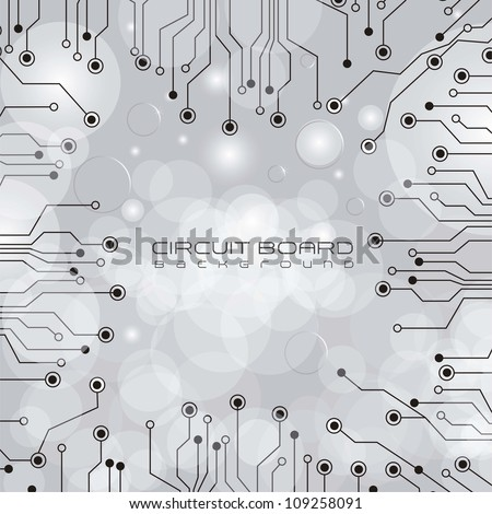 circuit board,  on lights and gray gradient background, vector illustration - stock vector