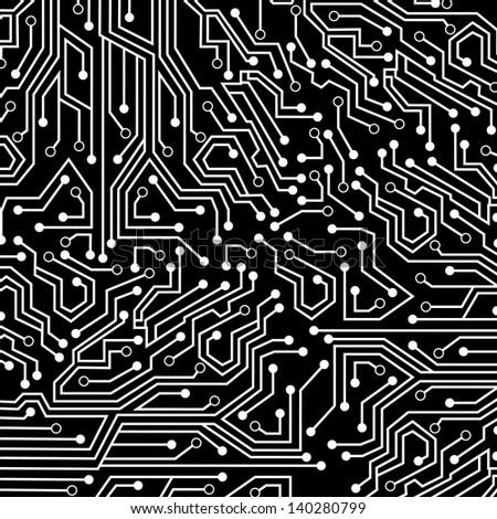 circuit board over black background vector illustration - stock vector