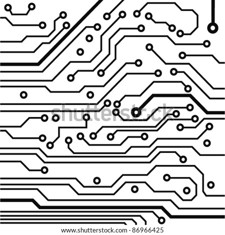 circuit board pattern black-and-white. vector illustration - stock vector
