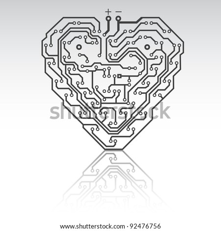 Circuit board pattern in the shape of the heart. Illustration. Vector.