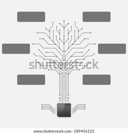 Circuit board pattern in the shape of the tree with chip processor root.infographics,Vector illustration - stock vector