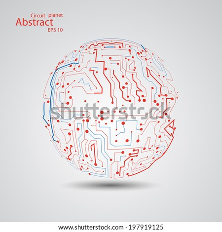 Circuit board planet eps 10, vector illustration