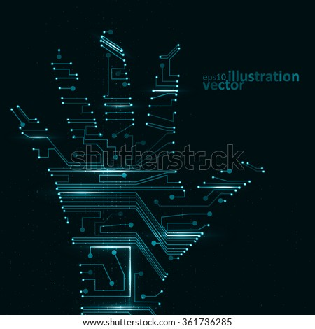 Circuit board shape of hand palm, abstract technology illustration eps10