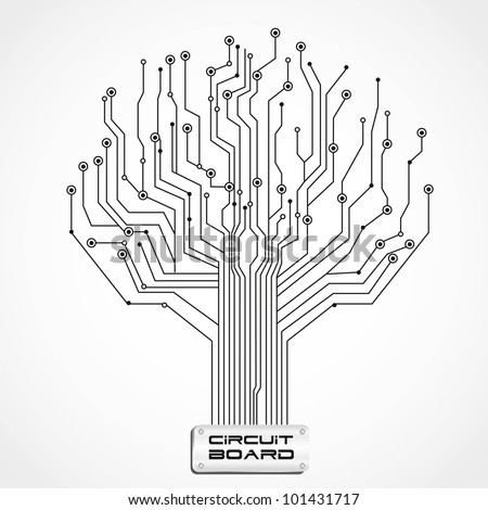 circuit board shaped tree vector illustration stock vector