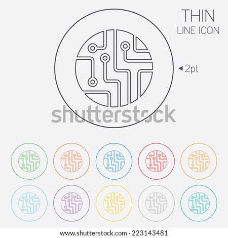 circuit icon stock images royalty images vectors circuit board sign icon technology scheme circle symbol thin line circle web icons
