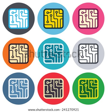 Circuit board sign icon. Technology scheme square symbol. Colored round buttons. Flat design circle icons set. Vector - stock vector