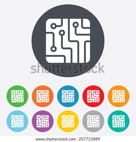 Circuit board sign icon. Technology scheme square symbol. Round colourful 11 buttons. Vector - stock vector