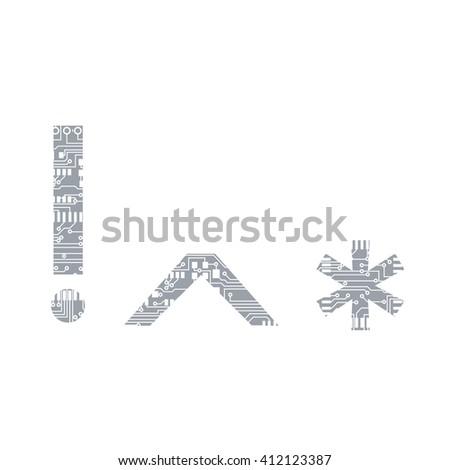 Circuit Board Symbol Exclamation Mark Caret Stock Vector 412123387 ...