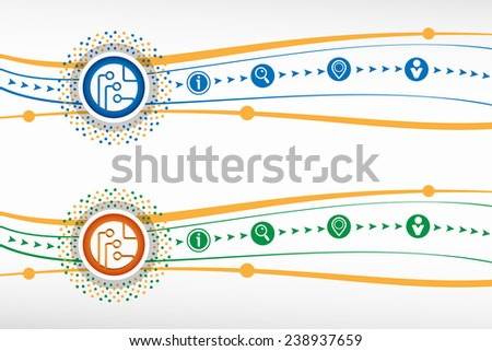 Circuit board, technology icon on background for banner, web, site, design, advertising, print, poster. Vector template. - stock vector