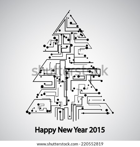 Circuit board, Tree for the new year eps 10, vector elegant illustration