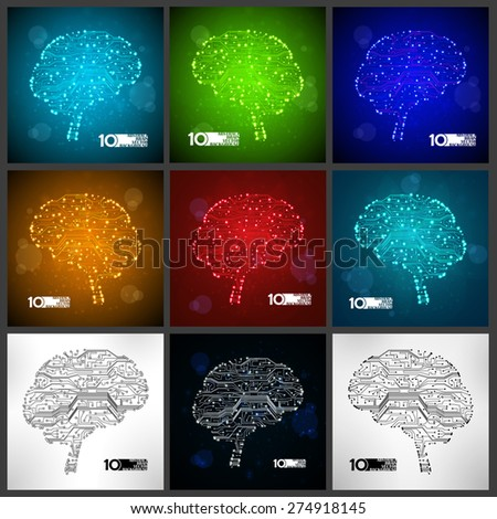 Circuit board vector background, set technology illustration, form of brain eps10 - stock vector