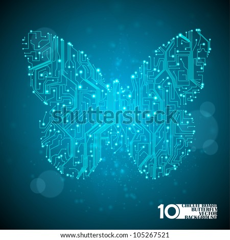 Circuit board vector background, technology illustration, butterfly illustration eps10 - stock vector