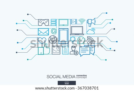 Circuit board vector background, with connected flat design icons. Illustration for digital network, internet, communicate, technology, global concepts. Social media integrated thin line symbols.
