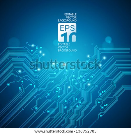 circuit board vector blue background - stock vector