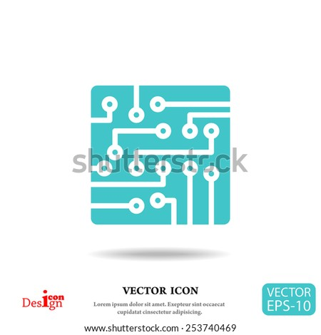 circuit board vector icon - stock vector