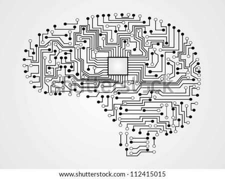 circuit board vector of brain - stock vector