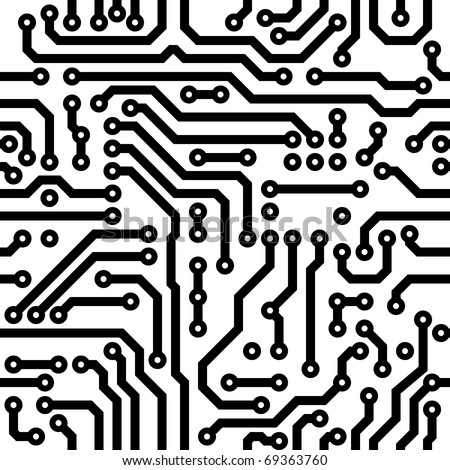 Circuit board vector texture. Computer nanotechnology elements seamless pattern. - stock vector