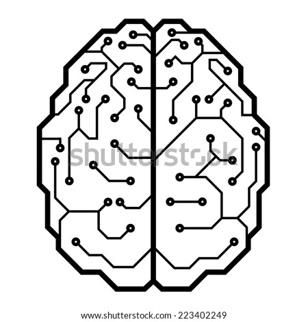 Circuit board with a brain shape. Eps8. CMYK. Organized by layers. Global color. Gradients free. - stock vector