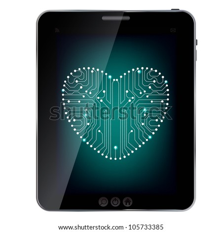 Circuit board with in heart shape pattern on abstract design  tablet - stock vector