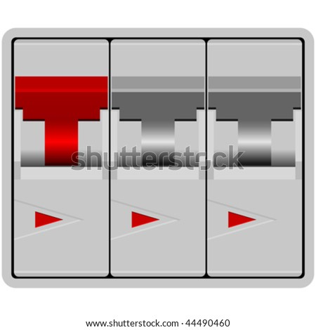 Circuit breakers isolated over white background - stock vector