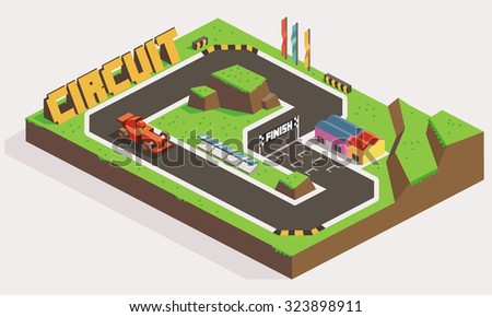 Circuit Car Track Race. Isometric vector illustration - stock vector