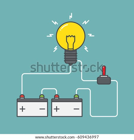 Circuit Concept Battery Power Switch Flat Stock Vector