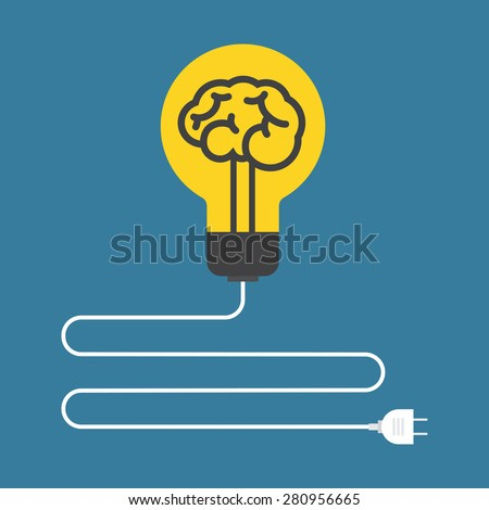 Circuit. Concept of brain light bulb. Flat design. - stock vector