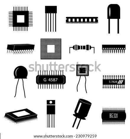 circuit Electronics icons set - stock vector