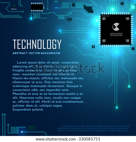 Circuit motherboard vector illustration with text block - stock vector