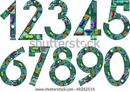 circuit numbers - stock vector